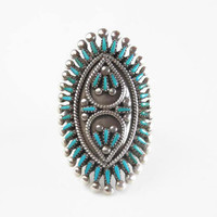 Zuni Petit Point Ring - Turquoise and Sterling Silver - Vincent & Socorro Johnson Turquoise Ring - Vintage Turquoise Knuckle Ring - Size 7.5