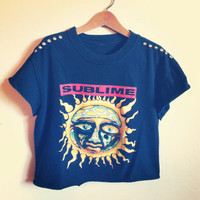 Reworked studded SUBLIME crop shirt