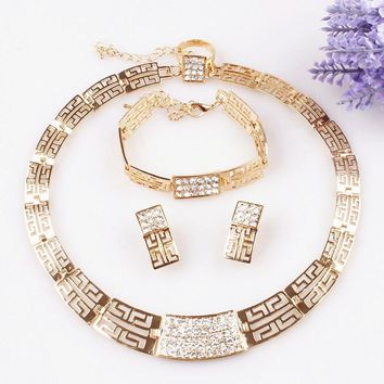 Free Shipping Fashion Necklace and Earring bride vintage chain Dubai Jewelry Sets Austrian Crystal For Women Wedding Gift