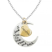 I Love You To The Moon and Back Necklace - Grandma