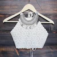 FINAL SALE - sahara crochet crop halter top - sand