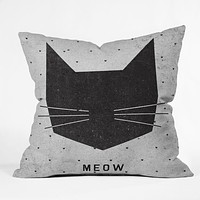 Wesley Bird Meow Throw Pillow