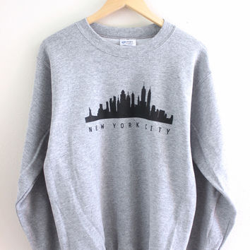 New York City Skyline Gray Graphic Crewneck Sweatshirt