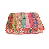 Pre-owned Multi-Colored Indian Square Floor Pillows - Pair
