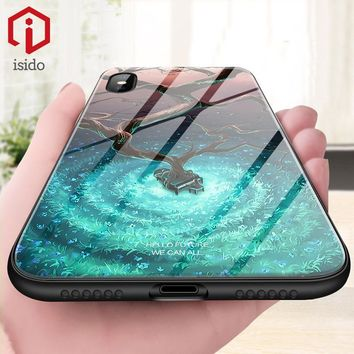 ISIDO Case For iPhone 6 6s 7 8 Plus X 10 Tempered Glass Pattern Back Case Anti-knock Luxury Capinha Funda Coque For iPhone 6 7