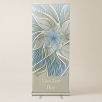 Floral Dream Pattern Abstract Blue Khaki Text Retractable Banner