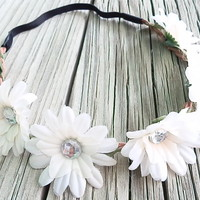 WHITE Coachella flower crown Hippie Boho headband with mini daisy flower and elastic back for women and girls beautiful boho floral headband