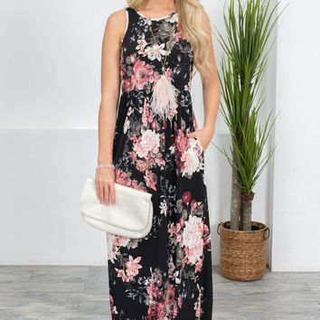 Italian Rose Floral Black Maxi Dress