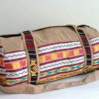 Handmade Woven Duffle Bag, Southwestern weekender bag, Hippie travel bag, Hipster overnight bag, Cotton Small Sport Gym bag, Cute Gift ideas