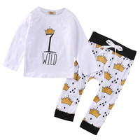 Autumn Spring Crown Newborn Toddler Infant Kids Baby Boy Clothes T-shirt Top+Pants Outfits Set