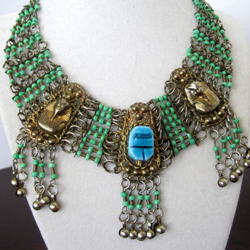 Vintage Egyptian Revival Scarab Bib Necklace