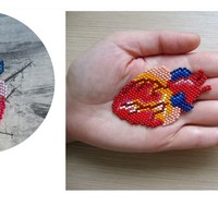 Anatomical heart patch/pandant/necklace or brooch