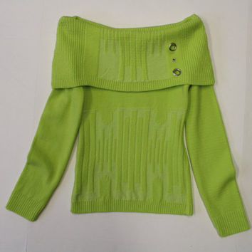 Cold Shoulder Vintage Sweater - Off the shoulder neon lime green jumper - eyelets- punk -studs - textured - chunky sweater