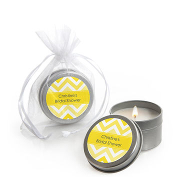 Chevron Yellow - Personalized Bridal Shower Candle Tin Favors