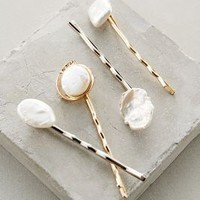 Amina Pearled Bobby Set by Anthropologie Gold One Size Hair