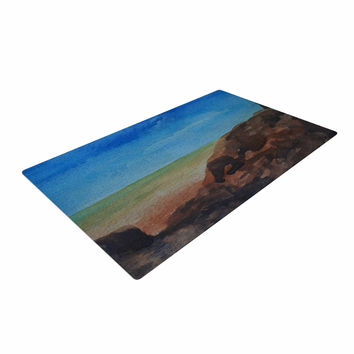 "Cyndi Steen ""Beach Rocks"" Blue Coastal Woven Area Rug"