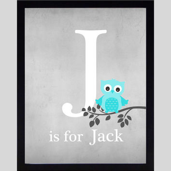 Monogram First Initial, Owl on Branch Gray Aqua Wall Art CUSTOMIZE YOUR COLORS 8x10 Prints, nursery decor nursery print art baby room decor