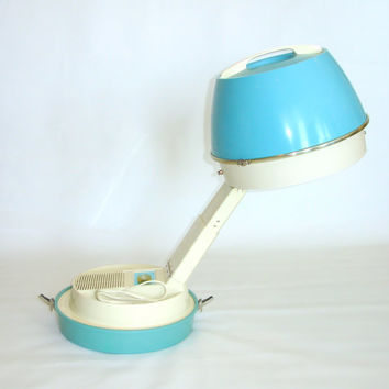 Vintage Table Top Hair Dryer, Portable Electric Dome Hairdryer, Dominion, 1950s 1960s Retro Mid-Century Modern, Turquoise Blue Hard Case