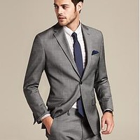 Tailored-Fit Grey Micro-Dot Wool Suit Jacket | Banana Republic