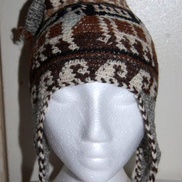Earth Tones Peruvian Style Unisex Knitted Hat with Earflaps beige/brown/grey Made of Llama hair