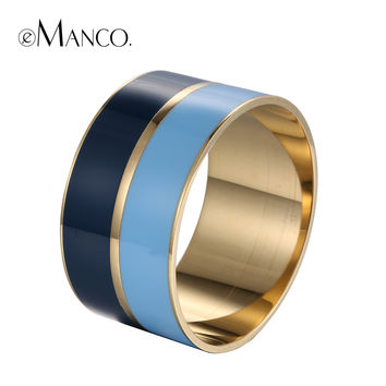 eManco alloy wide bangle geometric enamel cuff bangles metal opening gold plated hand painted resin bangle bracelet pulseiras