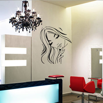 Wall decal decor decals art hair salon hairdryer beauty mirror lacquer scissors comb hairdresser stylist (m1051)