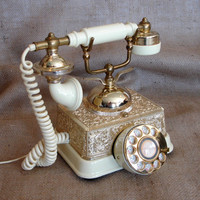 Vintage French Continental Telephone, Rotary Dial Phone, Ornate Victorian Baroque, Ivory Cream Gold Metal, Horn Handset, Radio Shack
