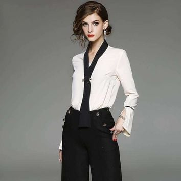Blouses Shirts Office Ladies Bow Tie Flare Sleeve Silk Blouses Woman Chiffon