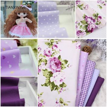 TIANXINYUE 5 pcs Purple 40*50cm 100% Cotton Fabric DIY Sewing Patchwork kids Bedding Bags Tilda Doll Cloth home Textiles Fabric
