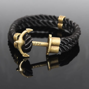 Tom Hope 2017 Anchor Bracelet Male Wristband Leather Bracelets For Women Femme Jewelry Men Rope Bracelets Couple Bracelet