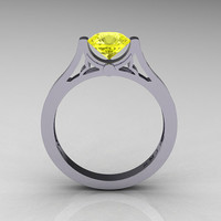 Modern 14K White Gold Luxurious and Simple Engagement Ring or Wedding Ring with a 1.0 Ct Yellow Topaz Center Stone R668-14KWGYT
