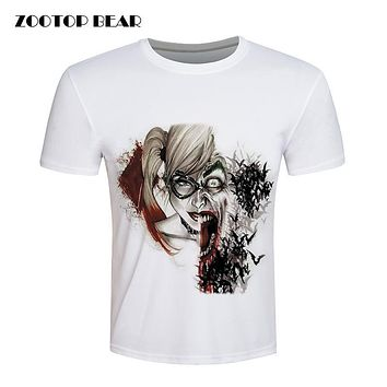 Harley Quinn Tops Joker Printed T-shirt Men Suicide Squad T-Shirt Batman White Fitness Skate Cool Brand Clothing
