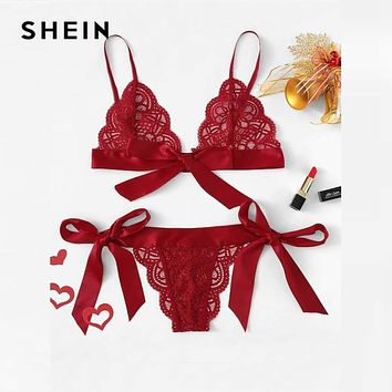 SHEIN Red Lace Sexy lingerie Set Hot Women Sleepwear V Neck Sleeveless Lace Scallop Bralette And Pantie Intimate Lingerie Macchar Cosplay Catalogue