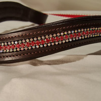 Bling English Curved Full Size Browband Red and White Rhinestone
