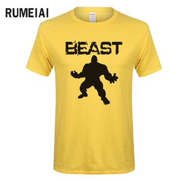 RUMEIAI New Fashion 2017 Brand clothing Bodybuilding Fitness Men beast printed t-shirts Crossfit tee shirts Stringer tops funny