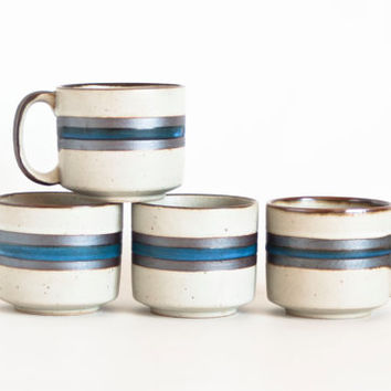 Vintage Otagiri Horizon Coffee Mugs Teacups, Vintage Japanese Stoneware Tea Cups, Set of 4, Hand Decorated
