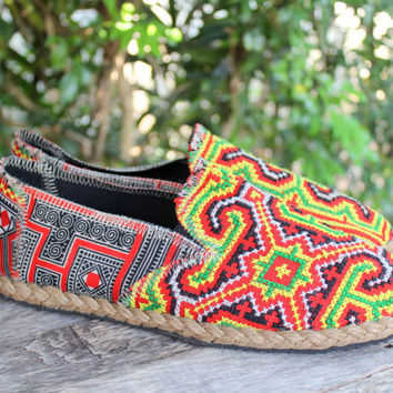Mens Loafers in Ethnic Hmong Embroidery Vegan Shoe