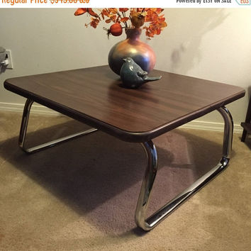 Vintage Steelcase Office Coffee Table, heavy chrome and Walnut laminate
