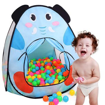 Finger Rock Cartoon Pattern Dog Elephant Style Toy Tents Folding Outdoor Play House Children Beach Game Tents Soft Fun Ball Pool