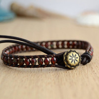 Dark red skinny stack bracelet. Bohemian beaded bracelet.
