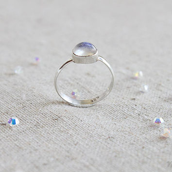 Moondrop Ring, Rainbow Moonstone Ring, June Birthstone, Sterling Silver