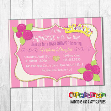 Princess Baby Shower Invitation, Princess Invitation, Girl Baby Shower