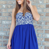 Take Me Out Dress: Royal Blue/Silver