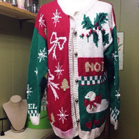 Vintage Ugly Christmas Sweater Size Large Free Shipping