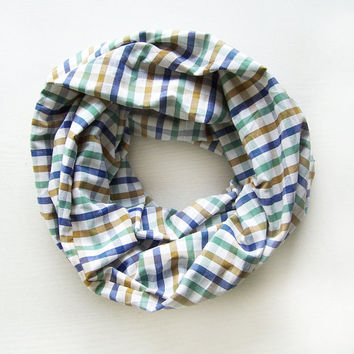 TODDLER Infinity Scarf, Plaid Toddler Scarf, Blue and Green Plaid Scarf, Boys Scarf