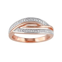 1/8 Carat T.W. Diamond Pink Rhodium-Plated Sterling Silver Twist Ring (White)