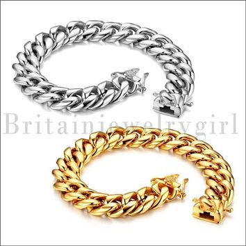 "8.46"" Stainless Steel Cuban Curb Polished Link Chain Bracelet for Men Boys*14MM"