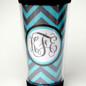 Monogrammed Travel Coffee Tumbler - Turquoise and Grey Chevron - Teacher Gift, Hostess Gift, Bridesmaids Gift, Graduation Gift - CT 01