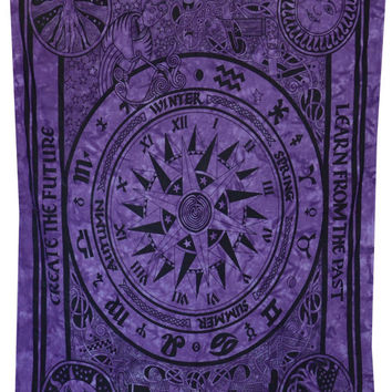 Beautiful Horoscope Tapestry, Indian ASTROLOGY Tapestry, Hippie Purple Tapestry, Indian Zodiac Wall Tapestry, Bohemian Twin Bed Sheet