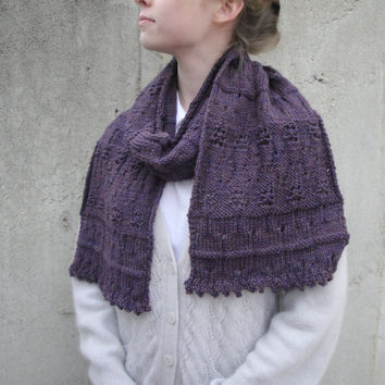 Wide Purple Scarf, Lace Pattern, Hand Knit, Soft Warm Cozy Cuddle, Long Large Muffler Scarf, Women & Teen Girls